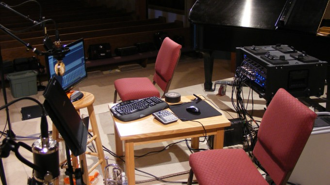 Mark pulled double duty as both recording engineer and performer Sunday, June 10 at the Forest Lake Church recording session.