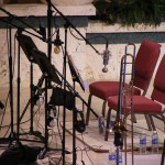 The trombone section setup for recording, Sunday, June 10 at the Forest Lake Church recording session.