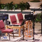 The trumpet section setup for recording Sunday, June 10 at the Forest Lake Church recording session.
