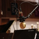 Trumpet section mic'd up for a followup recording session July 18, 2012